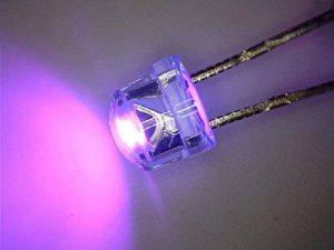 100 pièces LED 5mm chapeau de paille ultraviolets UV, courte tête, Flathead 110 ° 390 nm de la marque Tremex image 0 produit