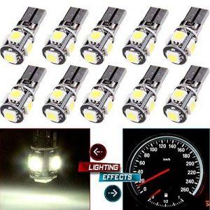 10PCS T10 LED Ampoules de Voiture Lampe W5W 5 SMD, MODOCA 5050 Wedge Intérieur de Voiture Bulbs pour Arrière Lumières Frein Turn Lampes Plaques D'immatriculation Lumières 12V, Blanc de la marque Modoca image 0 produit