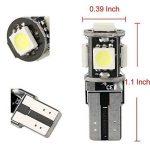 10PCS T10 LED Ampoules de Voiture Lampe W5W 5 SMD, MODOCA 5050 Wedge Intérieur de Voiture Bulbs pour Arrière Lumières Frein Turn Lampes Plaques D'immatriculation Lumières 12V, Blanc de la marque Modoca image 1 produit