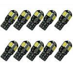 10PCS T10 LED Ampoules de Voiture Lampe W5W 8 SMD 5630 LED, MODOCA 194 168 2825 Avec Remplacement pour Lampes pour Plaque D'immatriculation, Back Up Eclairage Inversé 12V, Blanc de la marque Modoca image 1 produit