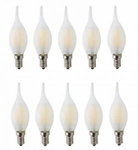 10X Ampoules Incandescentes De Filament De La Bougie Congelée En Verre 60W Dimmable AC 220-240V E14 6W LED ampoules, lampe de bougie de pointe de flamme d'illumination élevée, Blanc chaud de la marque JCKing image 0 produit