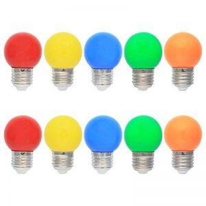 10X E27 Ampoule Couleur LED 1W Colorful Bulb 100LM Économie d'énergie Lampe de Couleur 360° Angle AC220V-240V, Rouge, Jaune, Bleu, Vert et Orange de la marque ELEXI image 0 produit