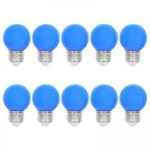 10X E27 Ampoules Couleur LED 1W Bleu LED Lampe 100LM Économie d'énergie Lampe Couleur PC Matériau Adapté aux Décoration de la marque ELEXI image 0 produit