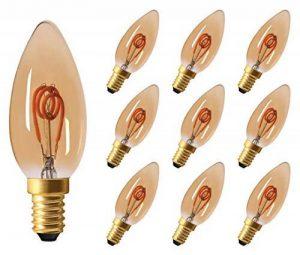 10x greenandco® Ampoule à Filament LED Vintage E14 2W (équivalent 11W) 100lm 2000K (blanc chaud) 360° 230V Verre, non-gradable de la marque greenandco image 0 produit