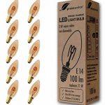 10x greenandco® Ampoule à Filament LED Vintage E14 2W (équivalent 11W) 100lm 2000K (blanc chaud) 360° 230V Verre, non-gradable de la marque greenandco image 1 produit