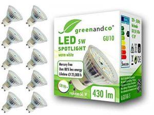 10x greenandco® IRC 90+ Spot à LED GU10 5W équivalent 50W, 430lm 3000K blanc chaud SMD LED 110° 230V AC, verre, aucun scintillement, non graduable de la marque greenandco image 0 produit