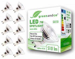 10x greenandco® IRC 90+ Spot à LED GU10 7W équivalent 60W, 510lm 3000K blanc chaud SMD LED 36° 230V AC, verre, aucun scintillement, non graduable de la marque greenandco image 0 produit