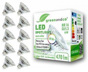 10x greenandco® IRC 90+ Spot à LED GU5.3 MR16 6W équivalent 45W, 470lm 3000K blanc chaud SMD LED 36° 12V AC/DC, verre, non graduable de la marque greenandco image 0 produit