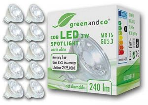 10x greenandco Spot à LED MR16 GU5.3 3W équivalent 25W, 240lm 2700K blanc chaud COB LED 38° 12V AC/DC non graduable de la marque greenandco image 0 produit