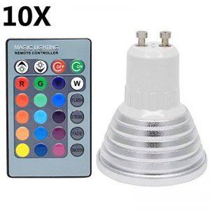 10X GU10 RGB Ampoule LED 3W Lampe LED Multicolore 16 Changement de couleur45 Angle de Faisceau AC85-265 avec Contrôle des à Distance de la marque ITALASA image 0 produit