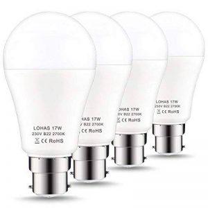 150W Ampoule Halogène Équivalent, LOHAS 17W B22 A60 Ampoule LED, 1600LM, Blanc Chaud 2700K, 220-240V AC, 180°Larges Faisceaux, Ampoule Led Baionnette, lot de 4 de la marque Lohas-Led image 0 produit