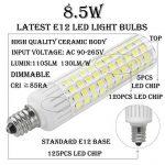 1819® E12 LED Bulb 2.5 Watt Warm White 3000K 25W Equivalent 250 Lumen Candelabra Base 4XCOB Non-Dimmable AC220V-240V for Chandelier/Ceiling Fan(Pack of 2) (2.5W, Blanc Chaud 3000K) de la marque 1819 image 2 produit