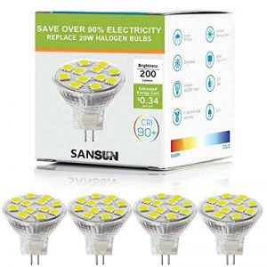 2W LED MR11, 12V 20W ampoules halogènes de remplacement, GU4Bi-pin Base, Blanc lumière du jour 4000K, (lot de 4) de la marque Sansun image 0 produit