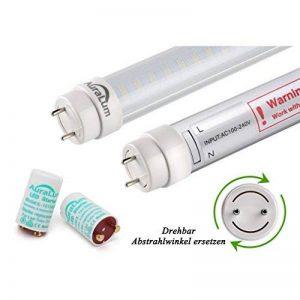 2 x Auralum® 60cm Blanc Chaud 2800~3200K 10W 1085LM T8 G13 LED Lumière Fluorescente. Tube avec Couverture Rayée. LED Starter équivaut 18W de la marque AuraLum image 0 produit