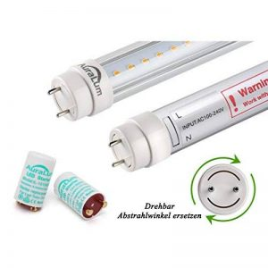 2 x Auralum® 60cm Blanc Chaud 2800~3200K 10W 1085LM T8 G13 LED Lumière Fluorescente. Tube avec Couverture Transparente. LED Starter équivaut 18W de la marque AuraLum image 0 produit