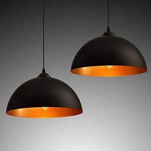 2 x industrielle Vintage Design Suspension Lustre Noir E27 Métal abat jour Luminaires Lampe Salon Chambre La cuisine Bar Cafe Restaurant de la marque CARYS image 0 produit