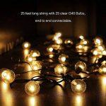 25ft G40 Raccordable avec Lampes Cordes, 25 Boule ampoules Blanc Chaud with 2 Ampoules de rechange, Décoration intérieur et extérieur pour Patio, Café, Jardin, Décoration de Parti de la marque Evangel image 4 produit