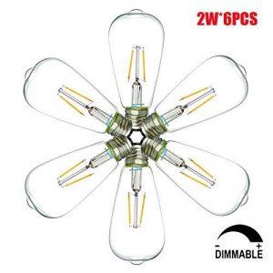 2W Ampoules LED E27 Dimmable ST64 Ampoules basse consommation, Ampoule à économie d'énergie, LED Filament Ampoule à lampe, Blanc Chaud, ø64mm (6-pack) de la marque Suncentech image 0 produit
