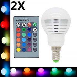 2X E14 Ampoules Couleur LED Multicolore 3W RGB Couleur à LED 16 Changement de Couleur 120° Angle de Faisceau avec Télécommande Infrarouge AC85-265V de la marque ITALASA image 0 produit