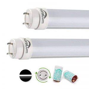 2x Tube LED Auralum® 60CM Néon Orientable T8 10W Tube Fluorescent Culot G13 SMD Lumière Blanc Froid 6000~6500K - Équivalence Incandescence 18W Vient avec Starter LED de la marque AuraLum image 0 produit