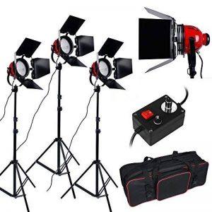 3200K 2400W Eclairage continu kit pour Studio/Vidéo photo à lumière douce -- 3* 800W Ampoule halogène couleur d'éclairage jaune, 3* Projecteur mandarine ventilé dont la puissance et focalisation réglable, plus trépied support avec sac de transport photogr image 0 produit