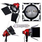 3200K 2400W Eclairage continu kit pour Studio/Vidéo photo à lumière douce -- 3* 800W Ampoule halogène couleur d'éclairage jaune, 3* Projecteur mandarine ventilé dont la puissance et focalisation réglable, plus trépied support avec sac de transport photogr image 1 produit