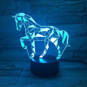 3D Lampe Illusion Optique LED Veilleuse, EASEHOME Optiques Illusions Lampe de Nuit 7 Couleurs Tactile Lampe de Chevet Chambre Table Art Déco Enfant Lumière de Nuit avec Câble USB, Cheval de la marque EASEHOME image 0 produit