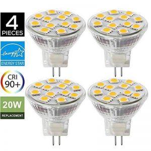 4 Ampoules LED MR11 GU4.0, 2W (équivalent ampoules halogènes 20 W), GU4 Base, 200lm, 12V AC/DC, 120° Flood faisceau ampoules LED, 3000 K( Blanc Chaud) de la marque SANSUN image 0 produit
