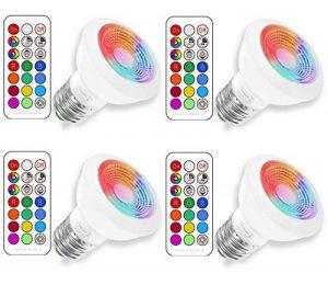 (4 Pack) E27 RGBW Ampoule LED, Sunpion® 3W RGB+2700K RGB Spot Lumiere LED Couleurs Changement LED Bulb,Super Lumineux 200LM Consommés Équivalent 20W(4 Pack E27 RGB+2700K) de la marque Sunpion image 0 produit
