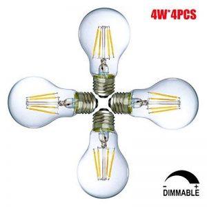 4W Ampoules LED E27 Dimmable A19 / A60 Ampoules basse consommation, Ampoule à économie d'énergie, LED Filament Ampoule à lampe, Blanc Chaud, ø60mm (4-pack) de la marque Suncentech image 0 produit