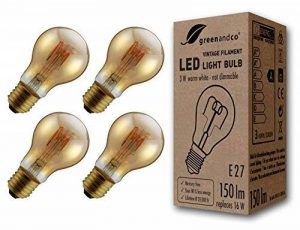 4x greenandco® Ampoule à Filament LED Vintage E27 3W (équivalent 16W) 150lm 2000K (blanc chaud) 360° 230V Verre, aucun scintillement, non-gradable de la marque greenandco image 0 produit