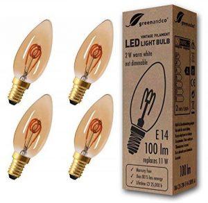 4x greenandco® Ampoule à Filament LED Vintage E14 2W (équivalent 11W) 100lm 2000K (blanc chaud) 360° 230V Verre, non-gradable de la marque greenandco image 0 produit