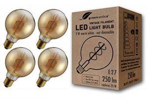 4x greenandco® Ampoule à Filament LED Vintage E27 G95 5W (équivalent 25W) 250lm 2000K (blanc chaud) 360° 230V Verre, aucun scintillement, non-gradable de la marque greenandco image 0 produit