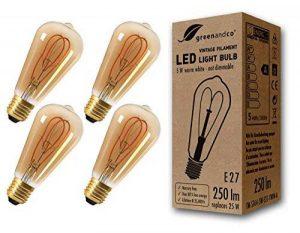 4x greenandco® Ampoule à Filament LED Vintage E27 ST64 5W (équivalent 25W) 250lm 2000K (blanc chaud) 360° 230V Verre, aucun scintillement, non-gradable de la marque greenandco image 0 produit