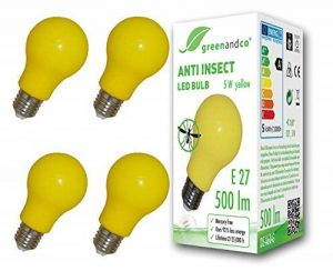 4x greenandco Ampoule LED anti-moustiques, anti insectes E27, jaune, 5W, longueur d'ondes 560-580nm, non-graduable de la marque greenandco image 0 produit
