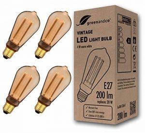 4x greenandco® Ampoule à LED Décorative Style Vintage Rétro Industriel Antique Edison E27 ST64 4W 200lm 1800K (blanc très chaud) 300° 230V, aucun scintillement, non-dimmable de la marque greenandco image 0 produit