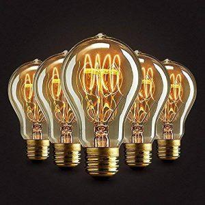 5×Neverland E27 40W Edison Rétro Lampe Antique Vintage Incandescence Ampoules Poire à cage d'écureuil Filament 50V-240V A19 de la marque Neverland image 0 produit