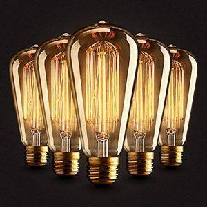 5×Neverland E27 40W Edison Rétro Lampe Antique Vintage Incandescence Ampoules Poire à cage d'écureuil Filament 50V-240V ST64 de la marque Neverland image 0 produit