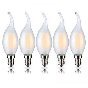 5-Pack Filament 4 W dimmable LED Ampoule Lampe Bougie, blanc chaud 2700 K, forme flamme E14 base Candélabre, pointe courbée, 40 W équivalent ampoules à incandescence yt-c35t-4 Lot de 5 de la marque Yaoten image 0 produit