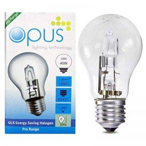 5x Opus 28W = 40W culot à vis GLS es E27long life Transparent Ampoules Eco Halogène Compatible variateur d'intensité pour lampes à économie d'énergie de la marque Opus Lighting Technology image 0 produit