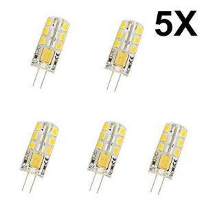 5X G4 Ampoule Lampe 4W Lampe LED 24 SMD 2835LED Blanc Chaud 300LM (équivalent à 25 W) Spot LED Bulb AC/DC 12V de la marque ELINKUME image 0 produit