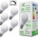 5x greenandco® Ampoule à Filament LED dépolie graduable E27 8W (équivalent 70W) 1000lm 2700K (blanc chaud) 360° 230V AC Verre de la marque greenandco image 1 produit
