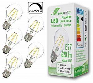 5x greenandco® Ampoule à Filament LED graduable E27 5W (équivalent 50W) / 620lm / 2700K (blanc chaud) / Angle de diffusion 360° / 230V AC / Verre de la marque greenandco image 0 produit