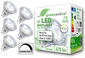 5x greenandco® IRC 90+ Spot à LED graduable GU10 7W équivalent 40W, 470lm 3000K blanc chaud COB LED 38° 230V AC de la marque greenandco image 0 produit