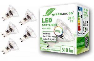 5x greenandco® IRC 90+ Spot à LED GU10 7W équivalent 60W, 510lm 3000K blanc chaud SMD LED 36° 230V AC, verre, aucun scintillement, non graduable de la marque greenandco image 0 produit
