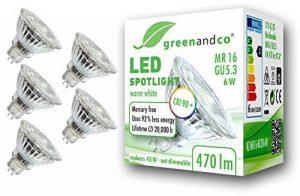 5x greenandco® IRC 90+ Spot à LED GU5.3 MR16 6W équivalent 45W, 470lm 3000K blanc chaud SMD LED 36° 12V AC/DC, verre, non graduable de la marque greenandco image 0 produit