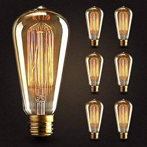 6×Neverland E27 40W Edison Rétro Lampe Antique Vintage Incandescence Ampoules Poire à cage d'écureuil Filament 50V-240V ST64 de la marque Neverland image 0 produit
