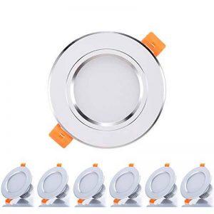 6 x Spot Encastrable LED Kimjo, 3W Encastré Lampe 6000K Blanc Froid 300LM Équivalente de 30W Lampe Halogène, Spots de Plafond Rond AC85-265V, 120° D'éclairage Pour Cuisine, Salon, Couloir de la marque Kimjo image 0 produit