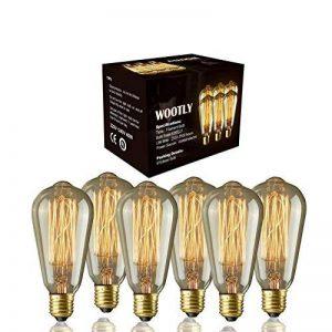 6pcs of Wootly Tungstène Edison Ampoule Coloration Ambrée Incandescence Verre Antique Lampe, ST64 40W Straight Wire, E27, 220V, Lumière Chaude de la marque Wootly image 0 produit