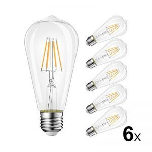 6W Ampoule LED Filament E27 ST64, Equivalent à Ampoule Incandescente 60W, Ampoule Rétro Edison, 800LM 2700K Blanc Chaud, Non-dimmable, Lot de 6, LVWIT de la marque LVWIT image 0 produit